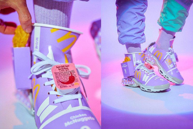 受到BTS特餐之亂啟發,藝術家Josiah Chua將帶有象徵BTS特餐紫色包裝,化身為全球僅一雙的潮鞋。圖/摘自instagram