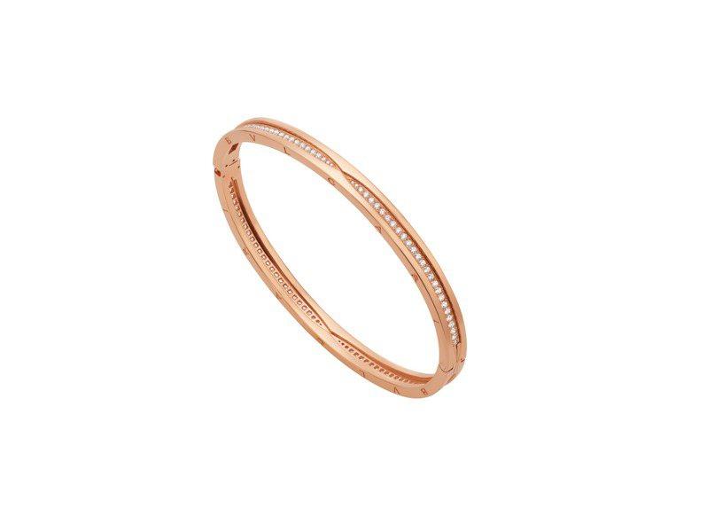 BVLGARI B.zero1系列玫瑰金鑽石手環,約33萬1,500元。圖/寶格麗提供