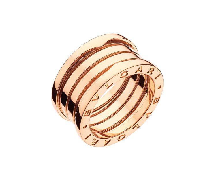 BVLGARI B.zero1系列玫瑰金四環戒指,約72,600元。圖/寶格麗提...