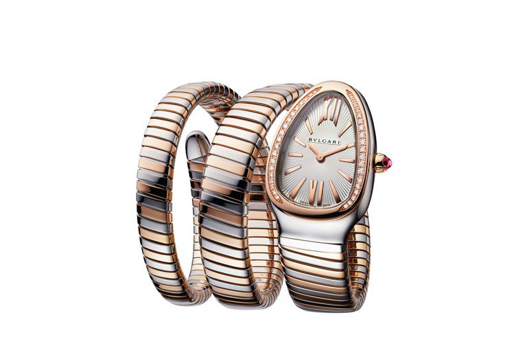 BVLGARI Serpenti Tubogas精鋼與玫瑰金雙螺旋腕表,約55萬...