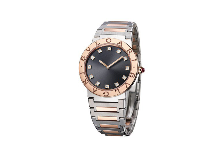 BVLGARI BVLGARI精鋼與玫瑰金腕表,約25萬6,000元。圖/寶格麗...