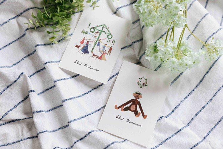 北歐櫥窗與插畫作家湯舒皮合作,推出「北歐樂仲夏」視覺,並推出明信片。圖/北歐櫥窗...