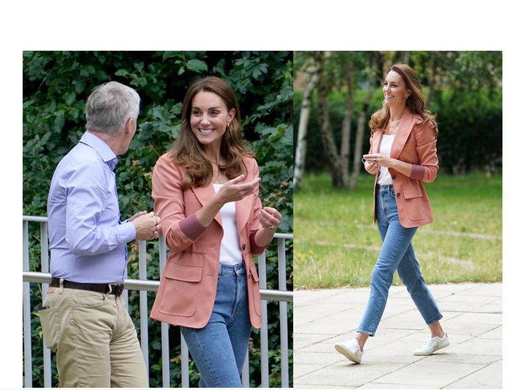 凱特王子妃身穿顯氣質的Chloé 2021春夏珊瑚橘外套。圖/Chloé提供