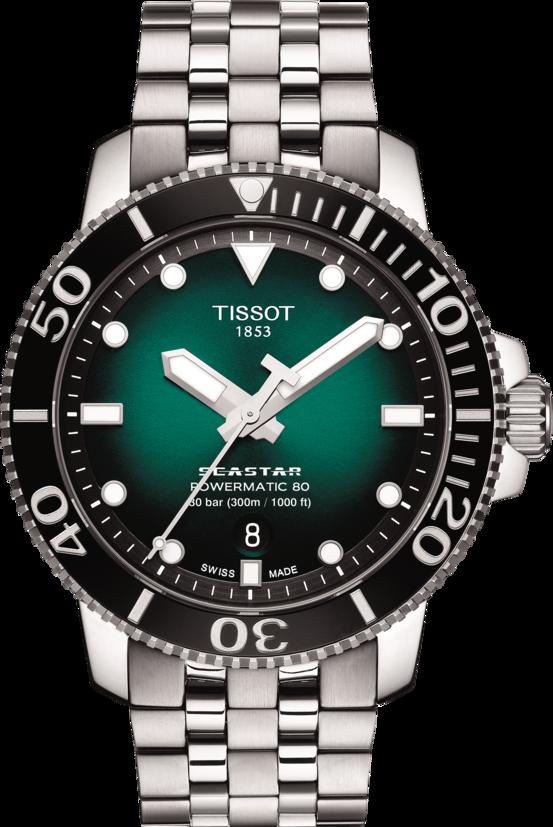 天梭表Seastar 1000海星系列漸層綠面腕表,精鋼表殼、表鍊,搭配陶瓷表圈...