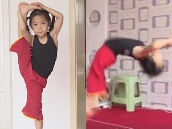 山西省一名六歲女童可連續完成110個後空翻。照片/好看視頻截圖