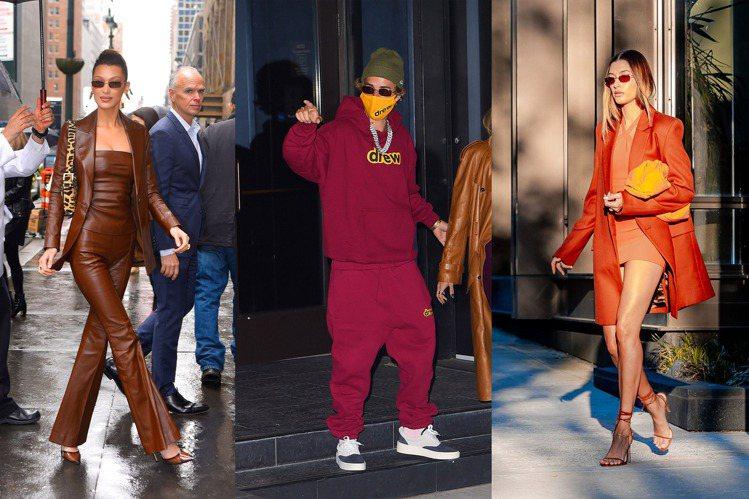 (左起)超模Bella Hadid、小賈斯汀和Hailey Bieber都是DM...