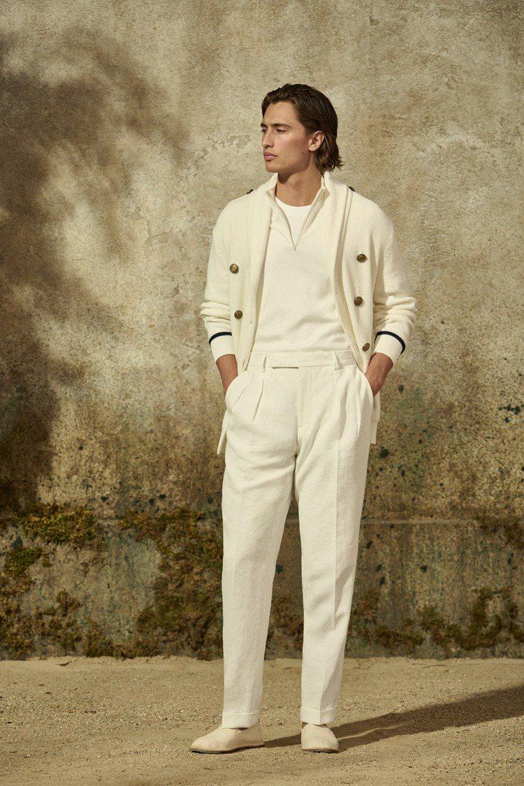 強調舒適度的針織單品,以條紋元素、海軍藍配色等帶來航海風情。圖/Brunello...