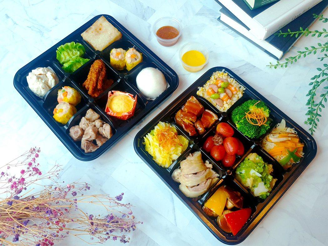 新竹福華大飯店推出「港點佳餚18品」九宮格外帶餐盒。業者提供