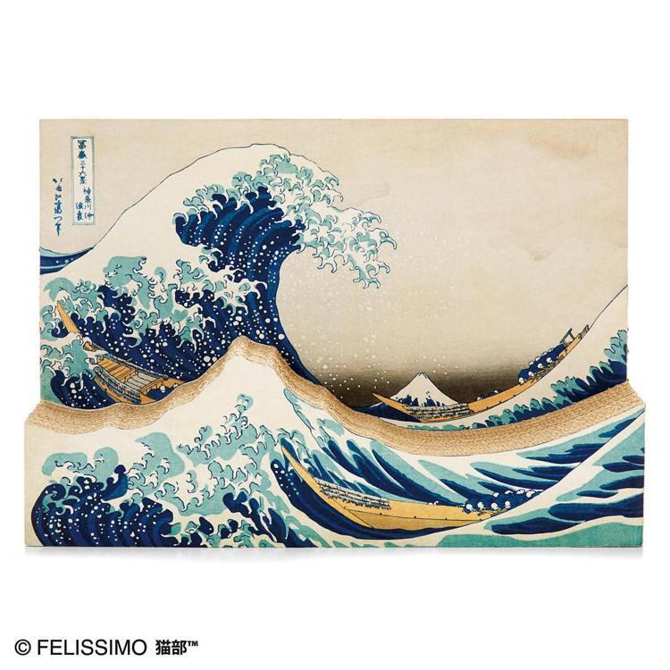 日本浮世繪畫家葛飾北齋的作品「神奈川沖浪裏」,變成貓抓板。圖/摘自felissi...