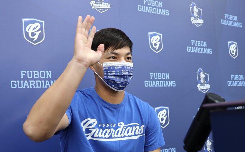 富邦悍將隊郭俊麟接受視訊訪問。圖/富邦悍將球團提供