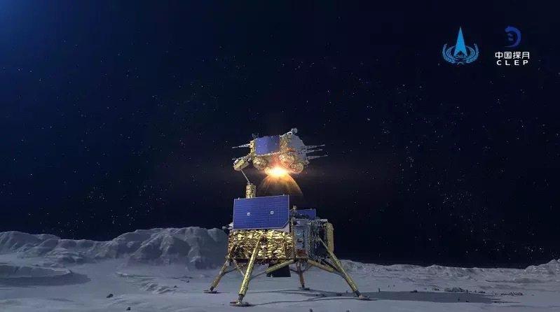 圖為去年底大陸探月工程「嫦娥五號」登陸月球。圖/取自中國探月