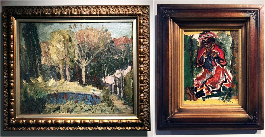 去年(2020)10月在北師美術館策畫「不朽的青春—臺灣美術再發現」展出鹽月桃甫佚失多年的油畫名作的《萌芽》(左)、《刺繡》(右)。 圖/作者提供