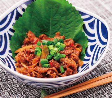 薑燒牛肉搭柴魚芝麻,微辣促進食慾。 圖/蘋果屋出版社 提供