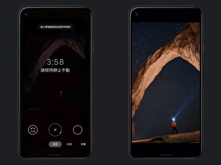 使用者透過夜視模式天文攝影功能可以拍攝夜空的長時間曝光照片,並將該照片將轉為影片...
