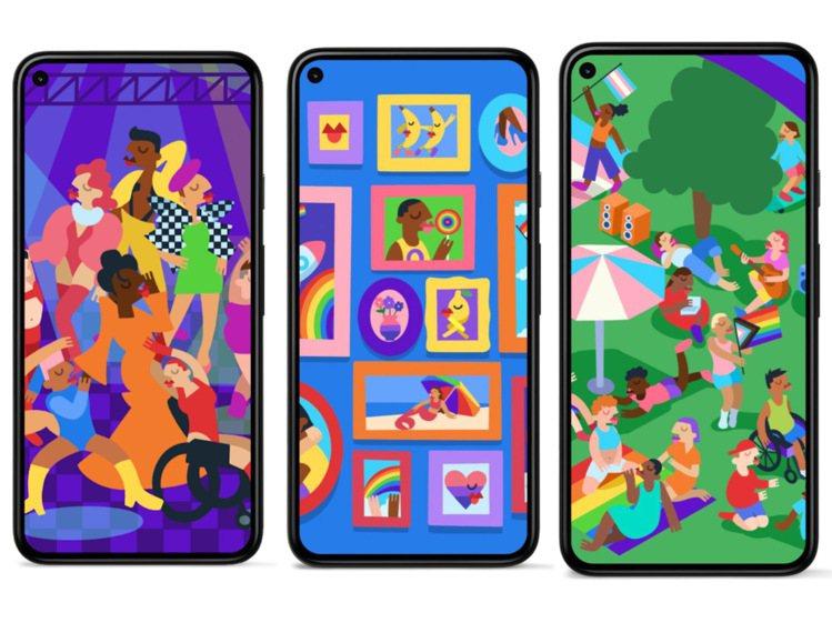 響應6月同志驕傲月,Pixel推出全新3款繽紛熱情的主題桌布。圖/摘自Googl...