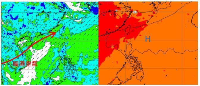 歐洲模式模擬26日20時850百帕相對濕度及風場圖顯示,台灣處在西南季風環境,暖濕且不穩定的空氣,源源不絕(左圖)。模擬7月1日20時500百帕等高度圖顯示,太平洋高壓緩慢增強,台灣進入夏季型的天氣(右圖)。圖/取自「三立準氣象.老大洩天機」專欄