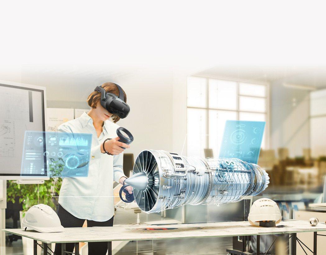 運用VIVE產品可以在虛擬環境中檢視產品設計3D模組。  宏達電提供