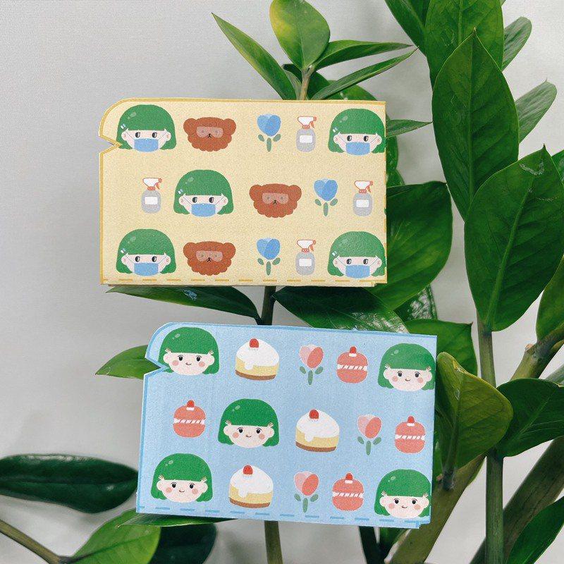 全家便利商店FamiPort雲端列印即日起至7月22日推出「口罩收納夾」列印服務,由5位網路作家設計,一次列印可享兩種款式,每張20元,還可享受DIY的樂趣。圖為阿柑款。圖/全家便利商店提供