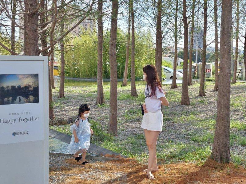 落羽松水景公園不但吸引許多民眾前往休憩,也成為年輕人打卡的熱門景點。國聚建設提供