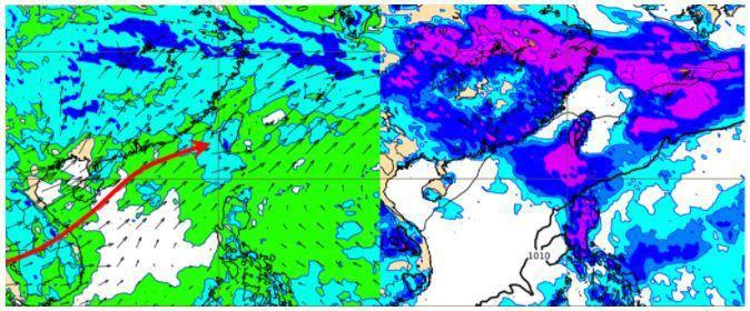 歐洲(ECMWF)模式,模擬27日20時850百帕相對濕度及風場圖顯示,台灣處在西南季風環境,暖濕且不穩定的空氣,源源不絕(左圖)。模擬27日20時地面氣壓及雨量圖顯示,迎風面中南部有大量降雨(右圖)。圖/取自「三立準氣象.老大洩天機」專欄