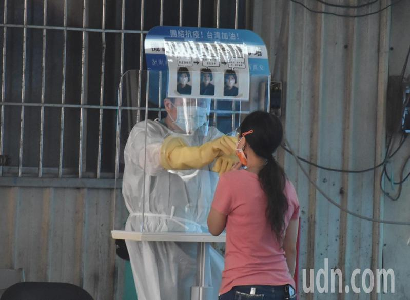 肉品市場從業人員在現場快篩。記者江婉儀/攝影