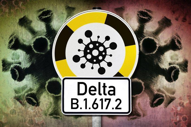 2019新型冠狀病毒Delta變異株(B.1.617.2)示意圖。Delta變異...