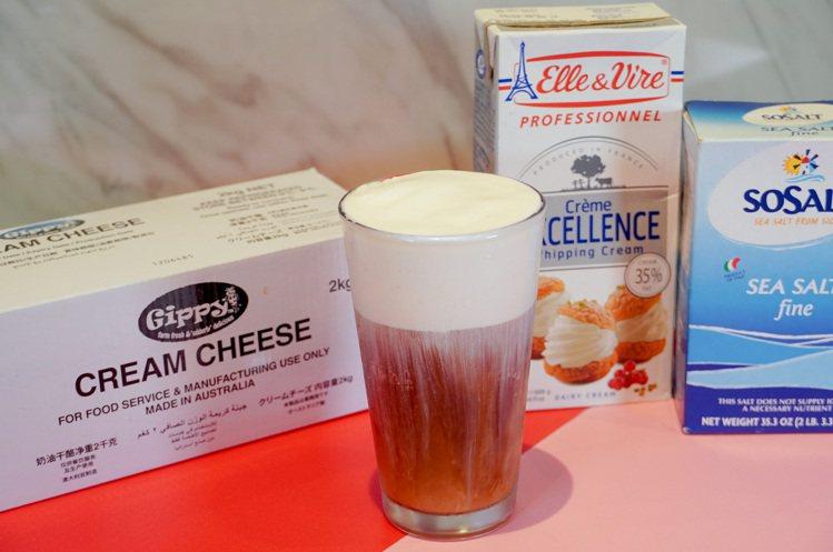 店內的「奶蓋」選用法國鐵塔牌鮮奶油、澳洲Gippy Cream Cheese等原...