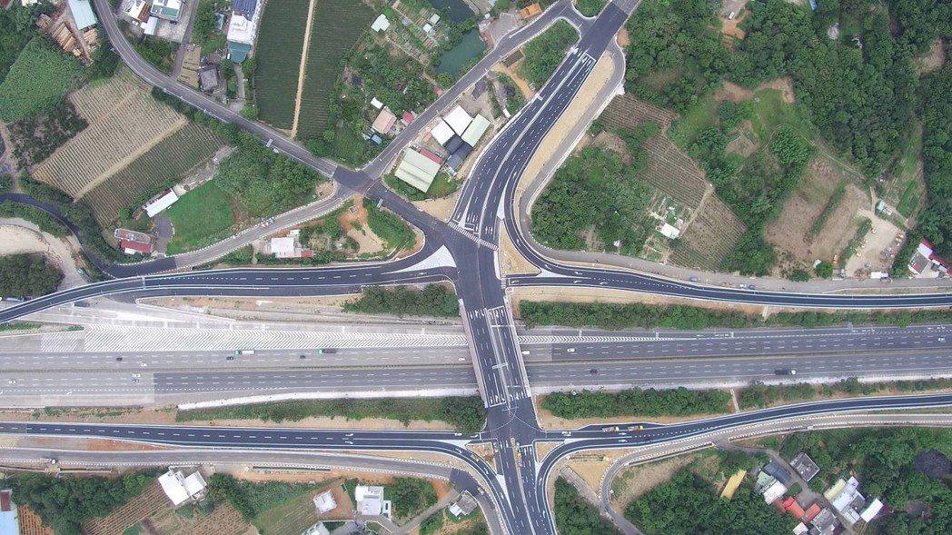 國道3號增設高原交流道空拍。圖/高公局提供