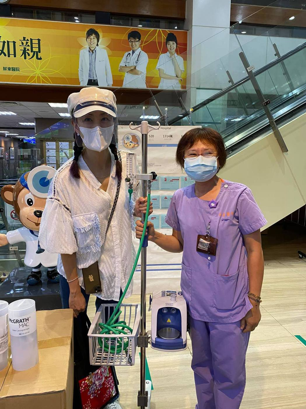 賈永婕收到呼吸治療師的求救訊息,親自借2台HFNC送往部立屏東醫院。 圖/擷自賈