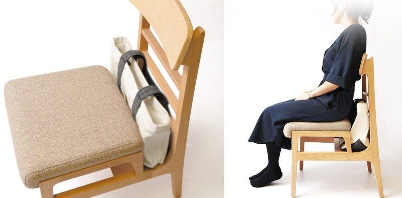 日本業者最近開發出一種新造型椅子,可以解決客人在坐下後,包包不知道該放哪才好的煩惱。圖擷取自飲食店デザイン研究所