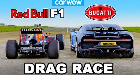 影/山豬王超跑Bugatti Chiron vs. Red Bull F1賽車究竟誰比較快!