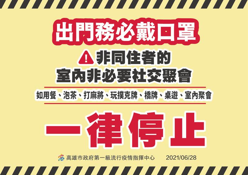 高雄市長陳其邁今在防疫會議後表示,今起戴口罩、分流控管人數及實聯制等防疫措施,要嚴格落實及執法取締,也禁止非同住者室內非必要聚會。圖/高市府提供