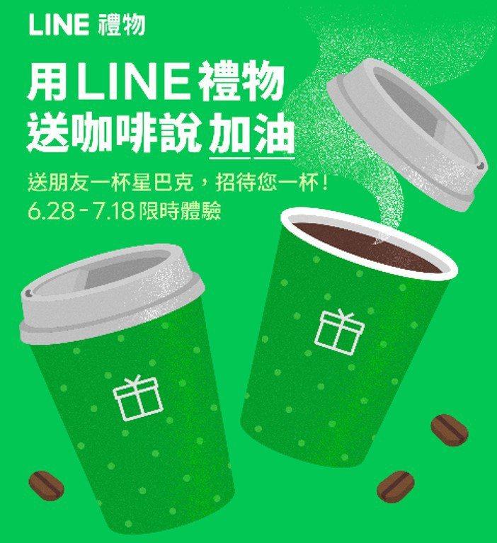 LINE禮物與星巴克推出「禮物咖啡1+1」活動,1人1杯遠距問候打氣。圖/LIN...