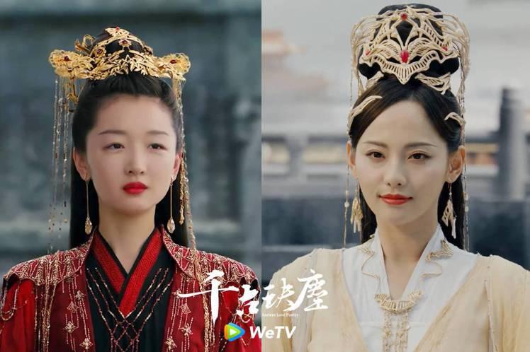 周冬雨(左)、張嘉倪在「千古玦塵」中分飾混沌主神、天后蕪浣。圖/WeTV提供