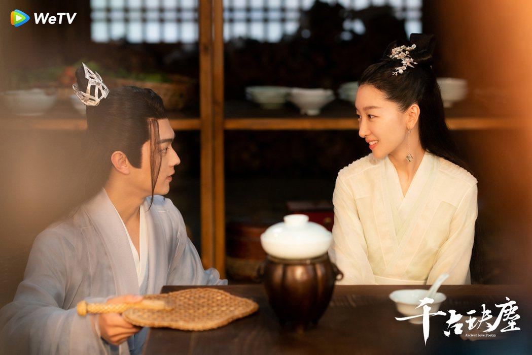 周冬雨(右)、許凱在「千古玦塵」中展開第二世愛戀。圖/WeTV提供