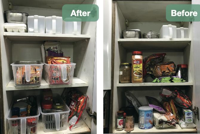 廚房整理的好幫手:手提式收納籃 / 方形收納籃。 圖/安可人生資料照片