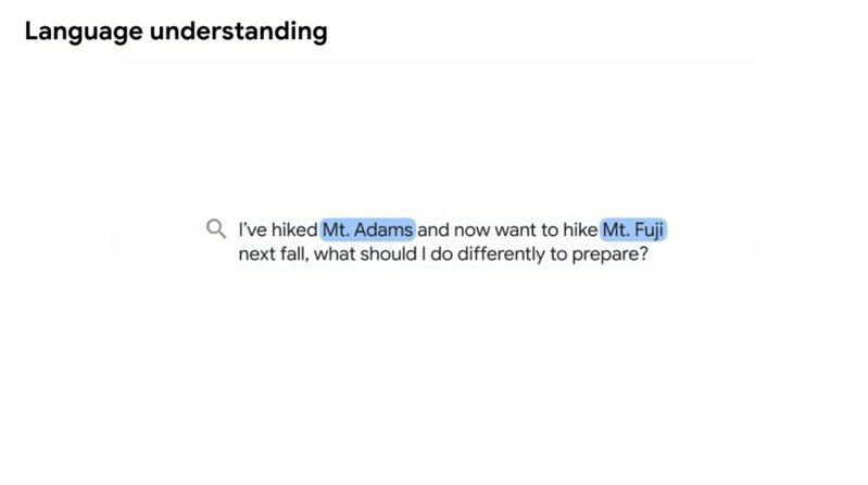 ▲「MUM」會針對語句中關鍵內容進行判斷,並且找出主要字句作為判斷依據,例如以亞當斯山與富士山作為主要比較條件