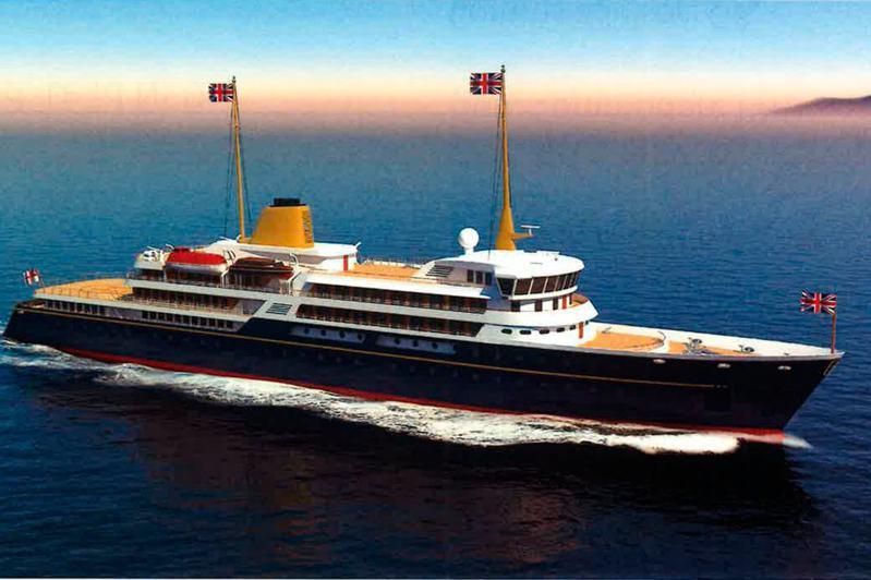 英國首相強生提出以2億英鎊(台幣77.5億元)打造一艘新的皇家遊艇「大不列顛號」,但在首相府公布設計圖後,竟被譏笑像一艘拖網漁船。圖/取自紐約時報