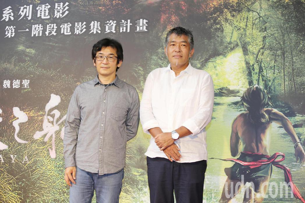 導演魏德聖(左)、美術指導花谷秀文(右)出席去年「臺灣三部曲」第一階段電影集資計...