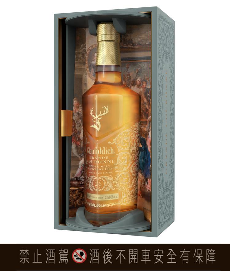 格蘭菲迪26年干邑桶單一麥芽威士忌,融匯巴洛克與洛可可藝術風格,專為榮耀時刻加冕...