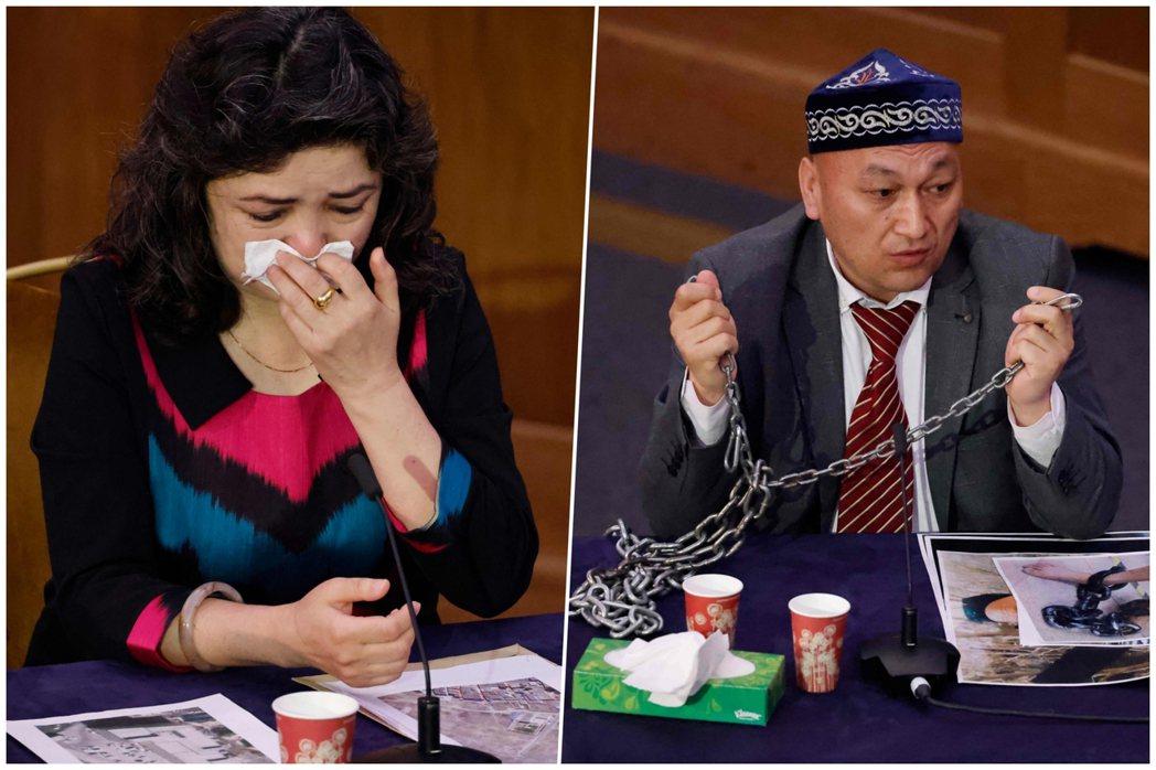 左為出面作證的目擊者、維吾爾教師Qelbinur Sidik,陳述看到再教育營對...
