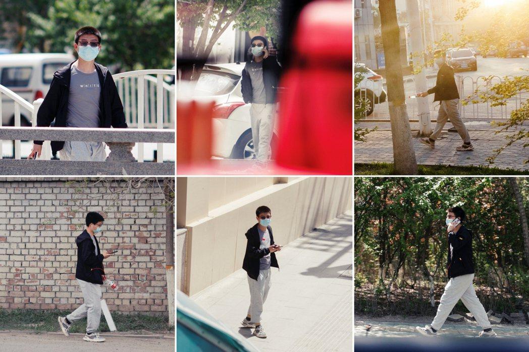 路透社記者在新疆拍攝專題照片時,一路在烏魯木齊跟蹤攝影團隊數日的不明便衣男子。 ...