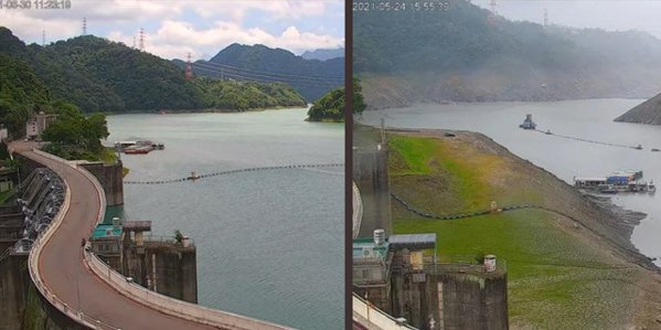 圖左為6月30日的石門水庫即時影像,右為今年5月24日的影像情形。擷自桃園智慧旅遊雲
