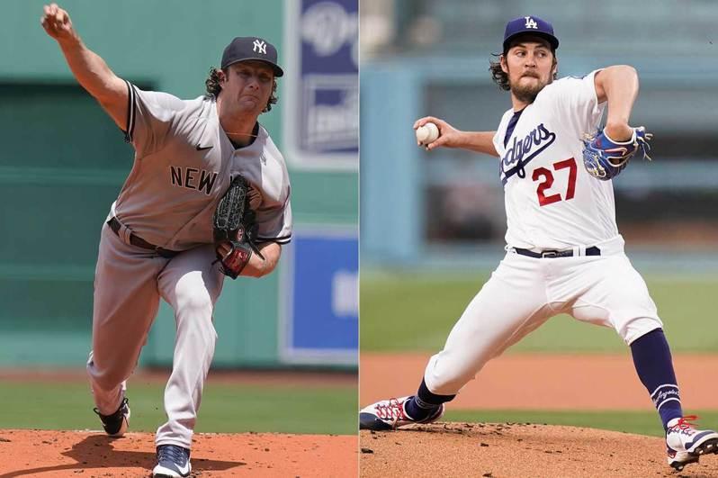 柯爾(左)和鮑爾(右)曾是大學時期的隊友,現在分別是兩大豪門洋基和道奇的王牌投手。兩人從過去就開始競爭,現在也在大聯盟比拚誰是更頂尖的超級強投。 美聯社