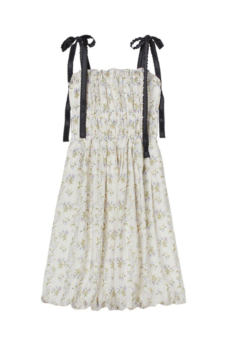 H&M聯名Brock Collection系列綁帶印花洋裝1,499元。...