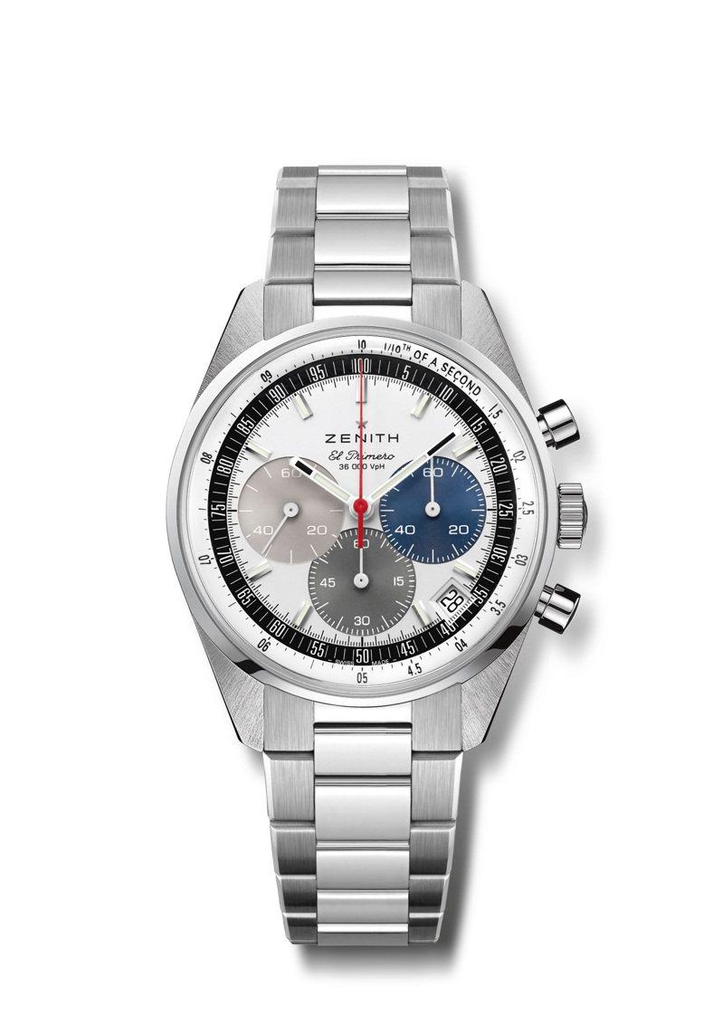 Chronomaster Original精鋼自動計時腕表,38毫米精鋼表殼、銀色配經典三色計時盤、El Primero 3600型自動上鍊導柱輪計時機芯可測量和顯示1/10秒,配精鋼表鍊,28萬6,000元。圖/真力時提供