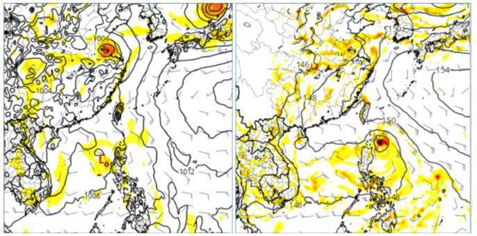 歐洲模式模擬顯示,下周一有熱帶系統通過呂宋島附近,進入南海(左圖);美國模式模擬的位置則在呂宋島東北方,強度略較歐洲模擬強(右圖)。圖擷自tropical tidbits。圖/取自「三立準氣象.老大洩天機」專欄