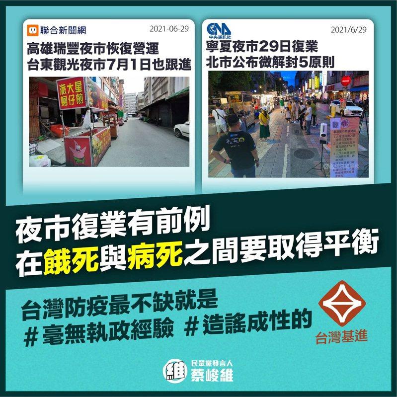 民眾黨發言人蔡峻維則嗆台灣基進,作為毫無執政經驗的側翼政黨,用假消息帶風向已經不是第一樁。圖/蔡峻維提供