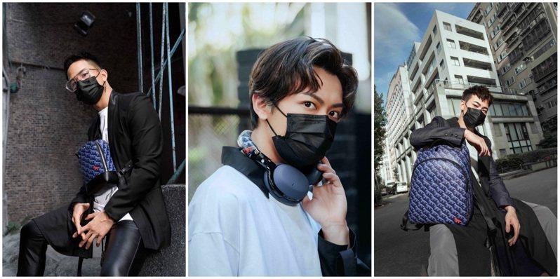 「茄子蛋」三位成員阿斌、阿德、阿任全數配戴上新品包款與耳機,instagram貼文再留下「很怕氣勢與帥度被壓住,幸好我有萬寶龍。」圖 / 萬寶龍提供(合成圖)。