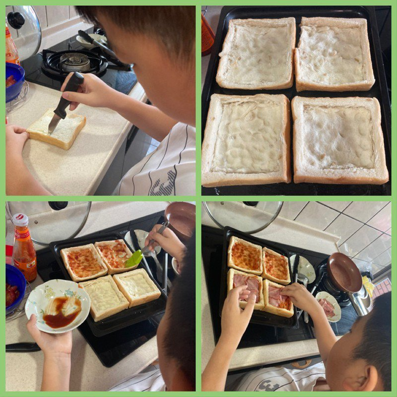 台南市教育局對低年級續推公版直播線上教學,家長和孩子上完課後依外師所教,利用吐司代替麵皮做披薩。圖/西門國小提供